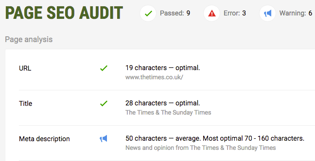 Page SEO Audit report