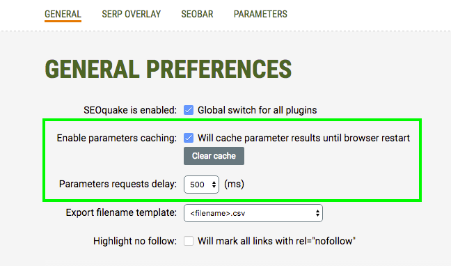 General preferences page